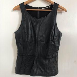 Nordstrom Black Leather Peplum Top Sleeveless S